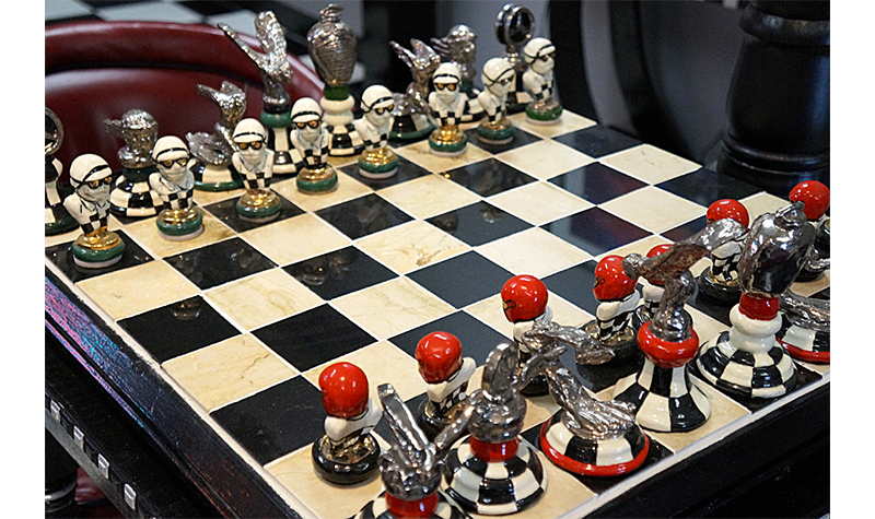 chess board, car-toons by booth