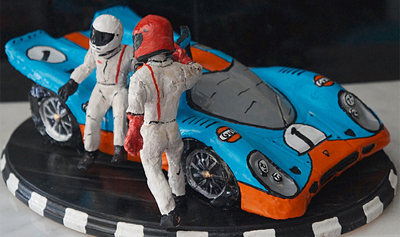 driver exchange at lemans, car-toons by booth