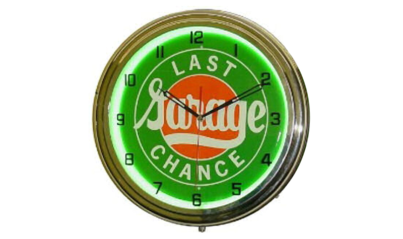 last chance garage neon clock from classic neon