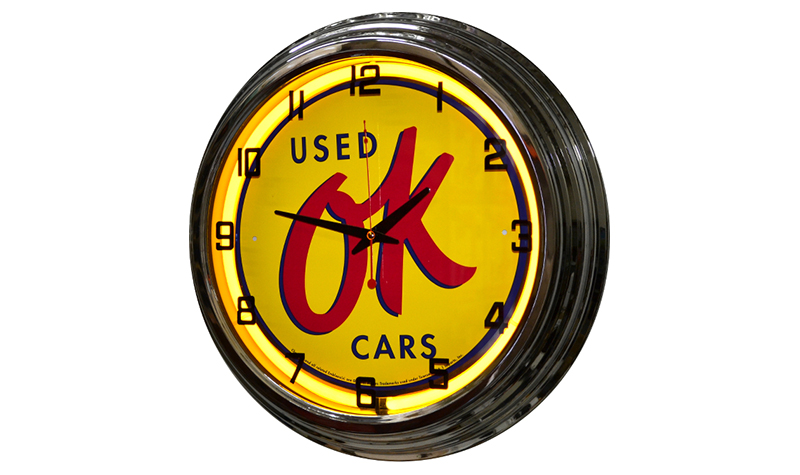 ok used cars neon clock from classic neon