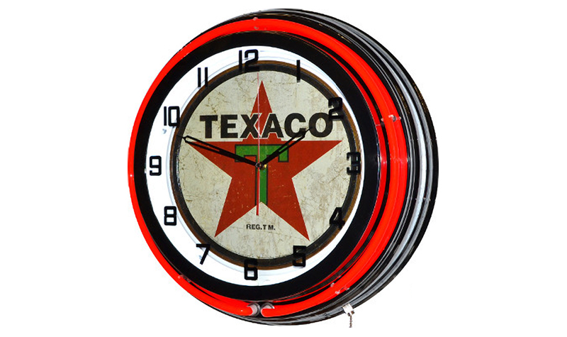 texaco star clock from classic neon
