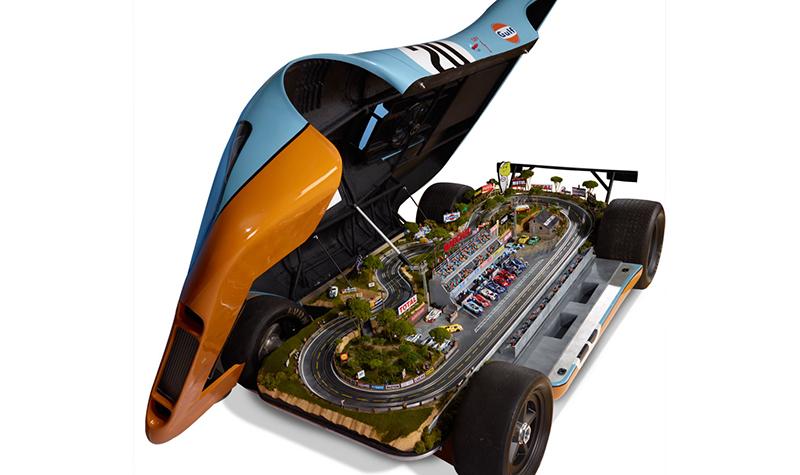 hammacher gulf porsche slot car set open -- Gulf Collectibles