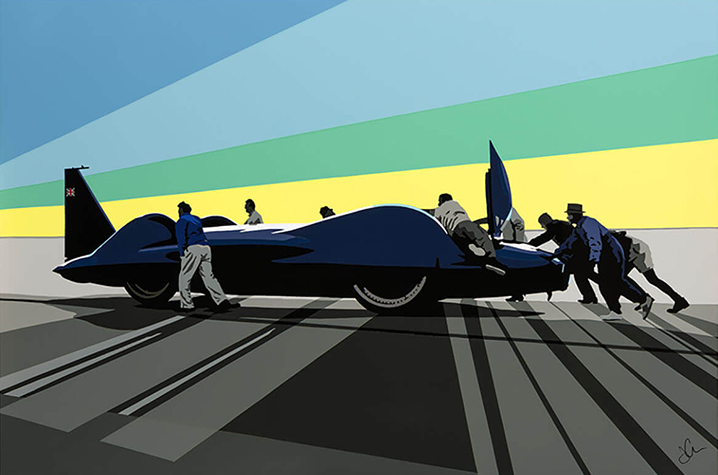 Speedicons-Bluebird-CN7-Pushing-Back Motorsport art by Joel Clark