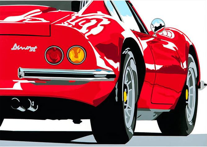 Speedicons-Ferrari-Dino  Motorsport art by Joel Clark
