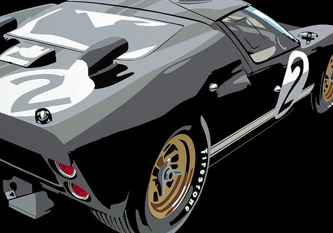 Speedicons-GT40-1966  Motorsport art by Joel Clark