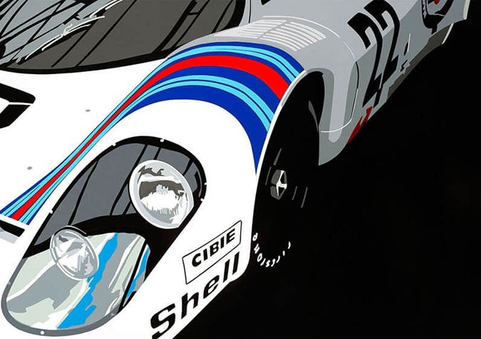 Speedicons-Porsche-917-Martini Motorsport art by Joel Clark