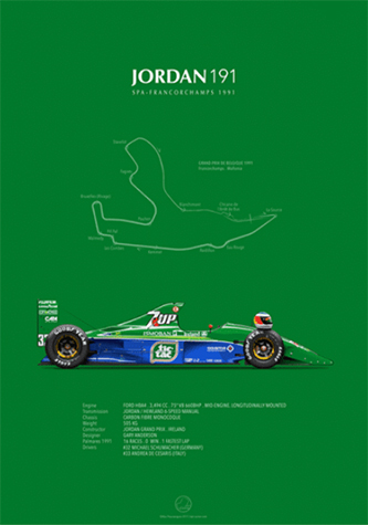 Jordan-Ford 191 Spa-Francorchamps 1991, poster art by Last Corner