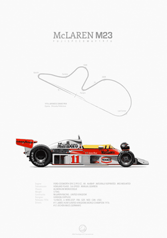 McLaren-Ford M23 Fuji 1976 before race, poster art by Last Corner