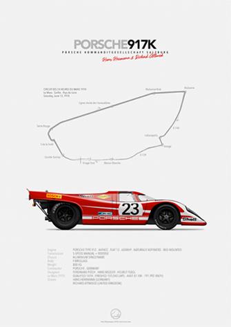 Porsche 917K KG Salzburg Le Mans 1970, poster art by Last Corner