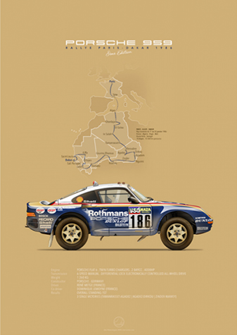 Porsche 959 Paris-Dakar 1986, poster art by Last Corner