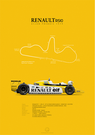 Renault RS10 Dijon-Prenois 1979, poster art by Last Corner