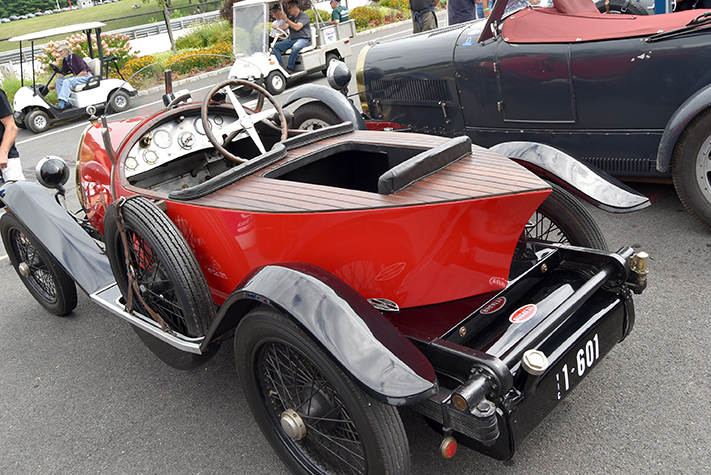 bugatti boat tail at the lime rock vintage festival 2018