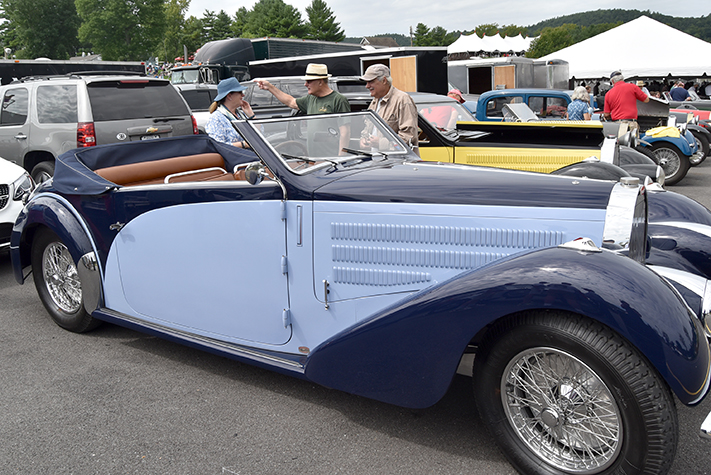 bugatti droptop at the lime rock vintage festival 2018
