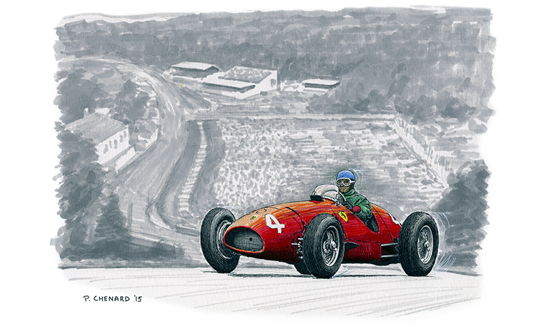 Ascari–Ferrari Spa 1952 motorsport art by paul chenard