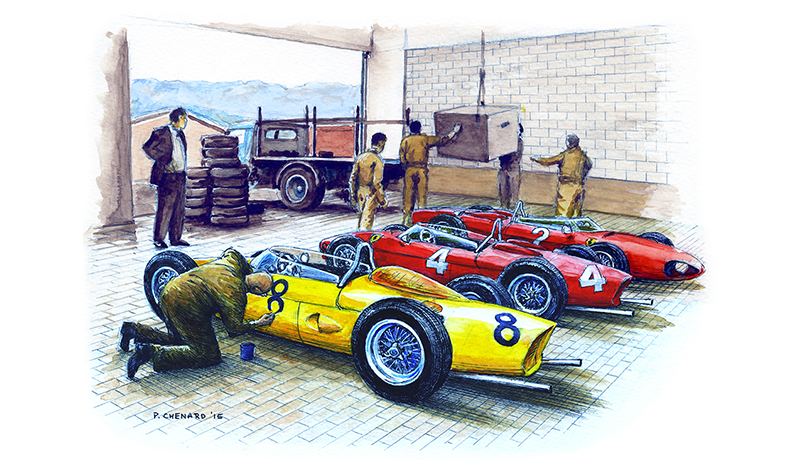 Before Spa GP 1961 motorsport art by paul chenard