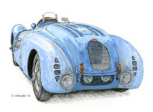 Bugatti T57G Tank motorsport art by paul chenard
