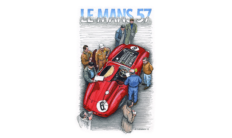 Ferrari 335 Le Mans 1957 motorsport art by paul chenard