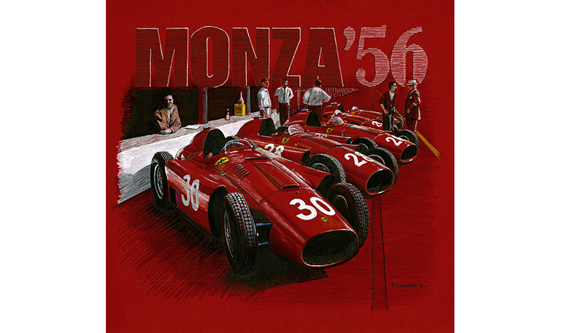 Monza 1956 D50s motorsport art by paul chenard