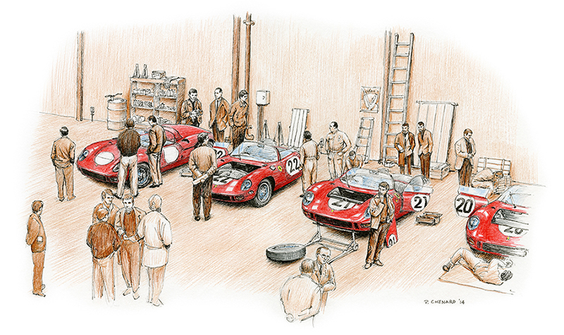 Pre Le Mans 1964 motorsport art by paul chenard