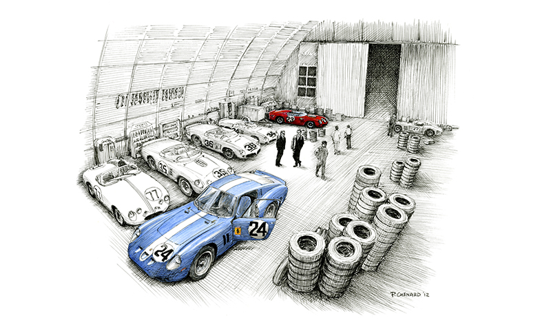 Sebring 1962–The Night Before motorsport art by paul chenard