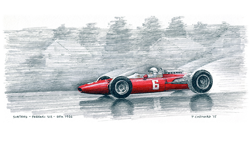 Surtees–Ferrari Spa 1966 motorsport art by paul chenard
