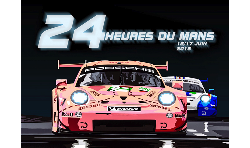lemans pink poster2 by joel clark