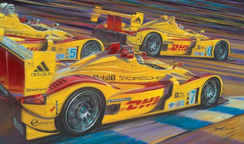 along came the spyders  motorsport art by roger warrick