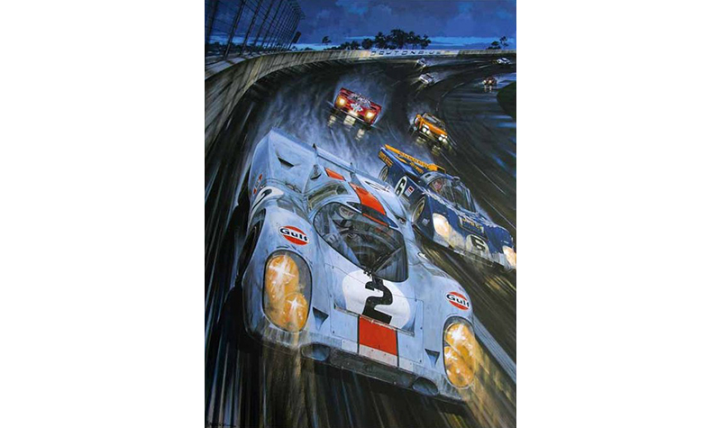 daytona 1971  motorsport art by roger warrick