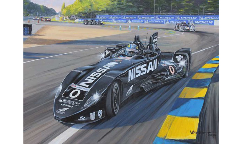deltawing at lemans  motorsport art by roger warrick