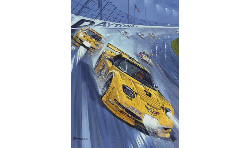 earnhardt at the 24 hours of daytona  motorsport art by roger warrick