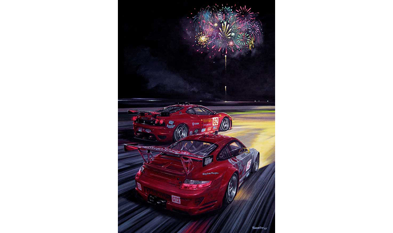 final lap fireworks sebring 2007  motorsport art by roger warrick