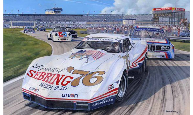 greenwood corvette  motorsport art by roger warrick