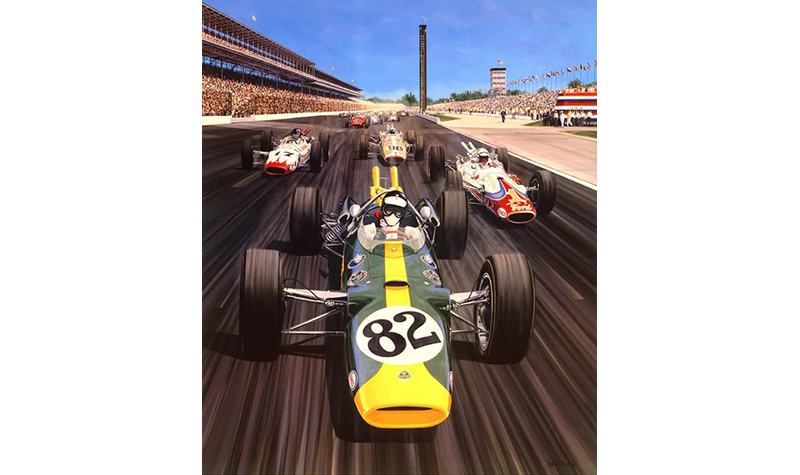 jim clark 65 motorsport art by roger warrick