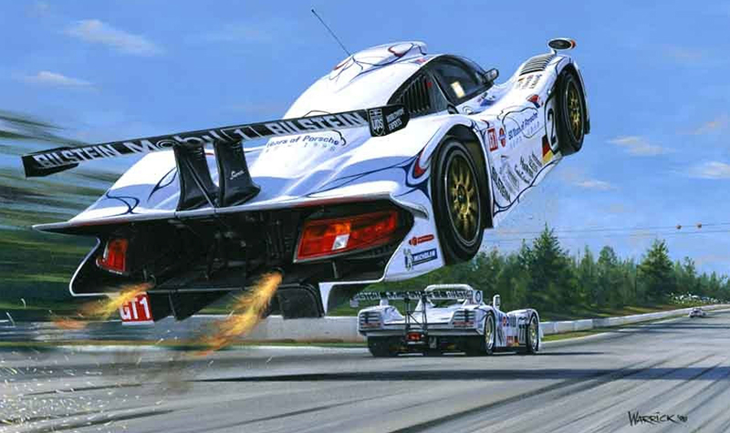 liftoff  motorsport art by roger warrick
