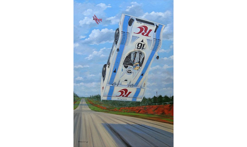 road atlanta flying club  motorsport art by roger warrick