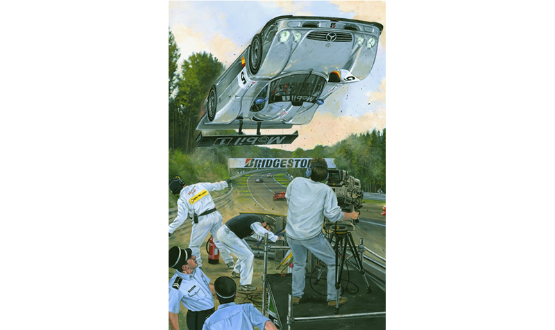 silver aero  motorsport art by roger warrick
