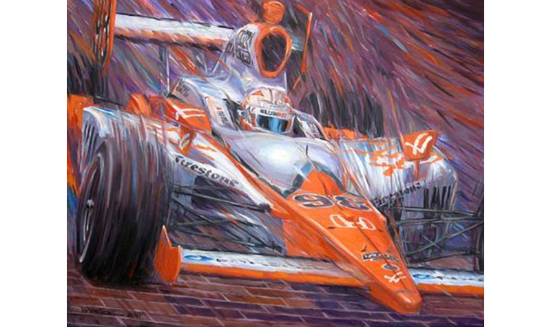 wheldon  motorsport art by roger warrick