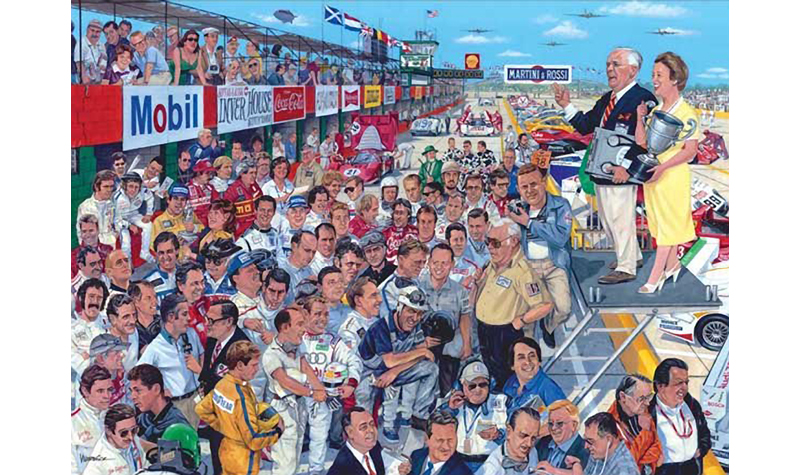 sebring drivers' meeting  motorsport art by roger warrick