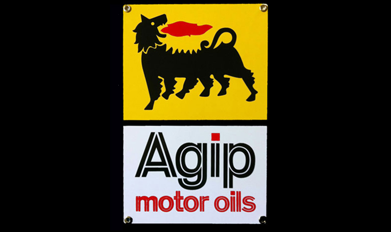 agip oil ceramic/steel sign by garageart.com