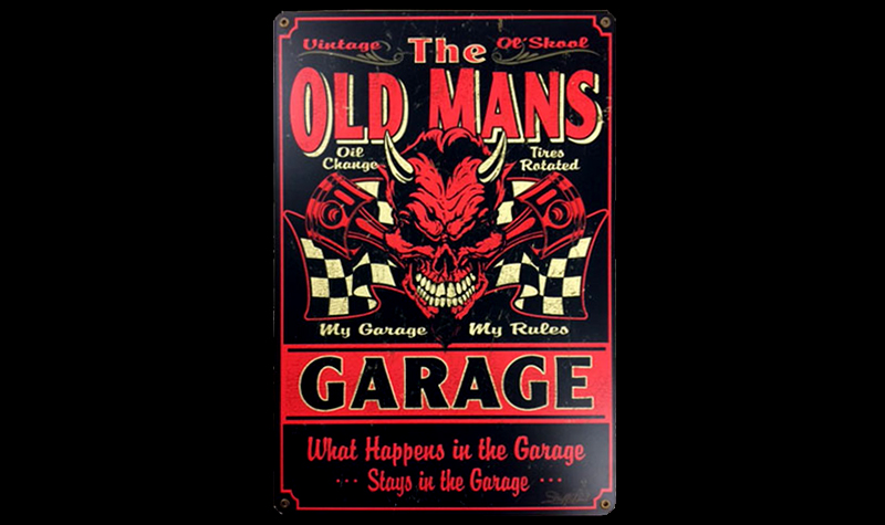old man's garage ceramic/steel sign by garageart.com
