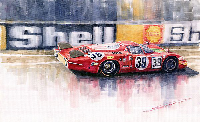 1968 Le Mans 24 Alfa Romeo T33 B2 Galli Giunti Watercolour/Motorsport art by Yuriy Shevchuk