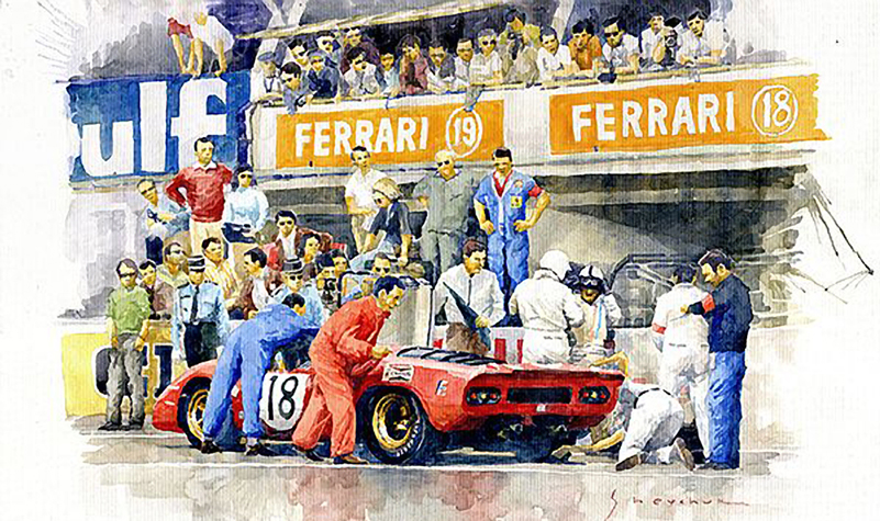 1969 Le Mans 24 Ferrari 312P Pedro Rodriguez David Piper Watercolour/Motorsport art by Yuriy Shevchuk
