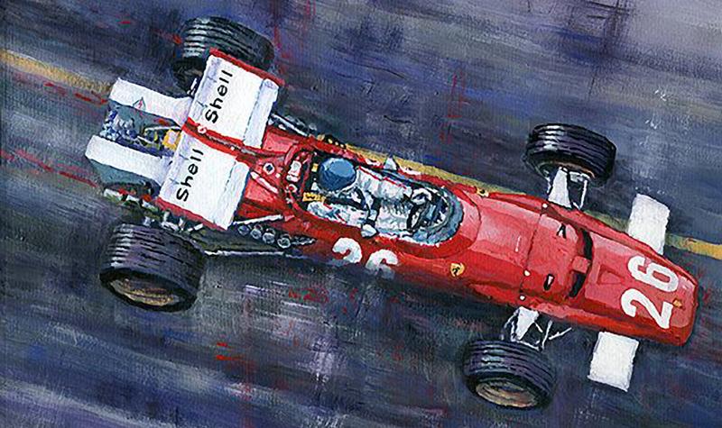 1970 Monaco GP Ferrari 312 B Jacky Ickx/Motorsport art by Yuriy Shevchuk