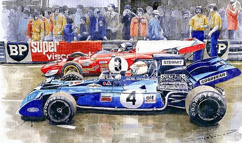 1972 French GP Jackie Stewart Tyrrell 003 Jacky Ickx Ferrari 312B2/Motorsport art by Yuriy Shevchuk