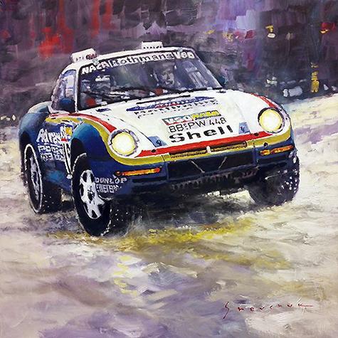 1986 Porsche 959:50 #185 2nd Dakar Rally Raid Ickx, Brasseur/Motorsport art by Yuriy Shevchuk