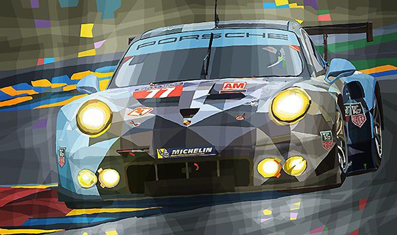 2015 Porsche 911 RSR Dempsey-Proton Le Mans/Motorsport art by Yuriy Shevchuk