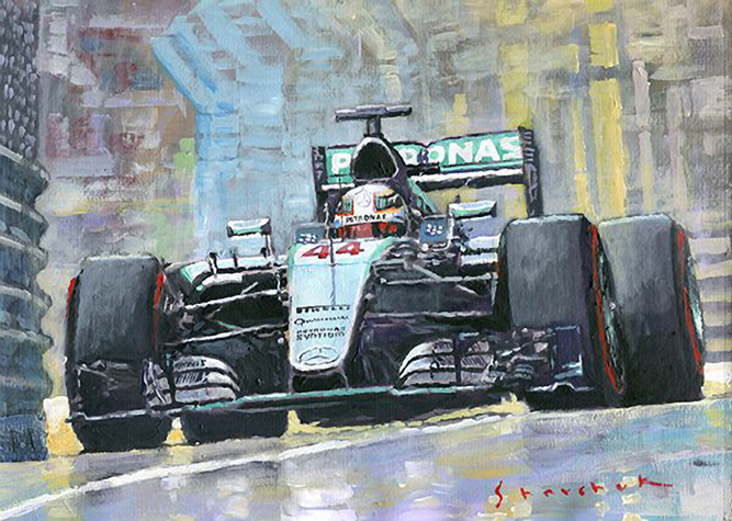 2016 Monaco GP Mercedes AMG Petronas Hamilton/Motorsport art by Yuriy Shevchuk